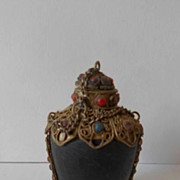 SALE Early 20th Century Oriental Tibetan Silver & Carbonized Wood Snuff Bottle