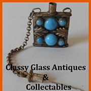 SALE Early 20th Century Oriental Tibetan Silver and Turquoise Snuff Bottle