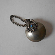 SOLD Silver Snuff Bottle - Vintage Oriental Nepalese Original - With Beads of Turquoise & Cora