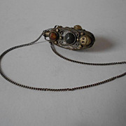SOLD Early Tibetan Silver Snuff Bottle Set With Agates & Quartz and Metal Work