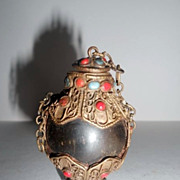 Desirable & Scarce Asian Hardwood & Nepalese Vintage Silver Snuff Bottle