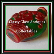 Emerald Green & Crimson Liu Li Peking Glass Snuff Bottle - Signed Imperial Reign of Emperor Gu