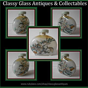 SALE LARGE Reverse Painted Chinese Glass Snuff Bottle - Early 20th Century