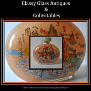 SALE Large Oval Flask Reverse Painted Glass Snuff Bottle with Chinese Buddhist Monks & Musicia