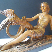 SOLD Magnificent 1930s Art Deco Figurative Lady Sculpture with Bird of Paradise. Stunning.