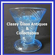 1930's English Art Deco Translucent Blue Depression Glass Flower Vase Display Set by Sowerby