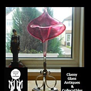 SALE PENDING Antique English Victorian Silver Plated & Cranberry Glass Jack In The Pulpit Vase