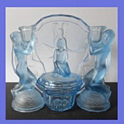 SALE Rare Uranium Blue Glass 10 piece 1930s Art Deco Press Moulded Vanity Set / Trinket Set