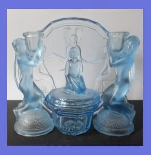 Rare Uranium Blue Glass 10 piece 1930s Art Deco Press Moulded Vanity Set / Trinket Set