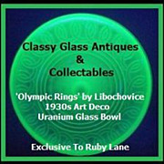 SOLD 'Olympic Rings' Uranium Green Glass Art Deco Bowl by Libochovice circa 1936