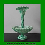 Important & Recorded Antique English Victorian Free-Blown 2 Piece Glass Epergne by  Burtles,Ta