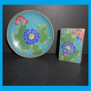 Vintage Chinese Cloisonne Enamel Ashtray Dish & Matchbox Holder Set