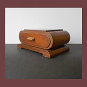SALE Handsome Handmade English Art Deco Large Wooden Cigar Cigarette Case with four Concealed