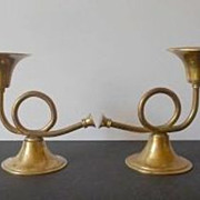 Vintage Pair Of  English Brass French Horn Candle Stick Holders - Comport / Dish Stands