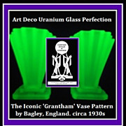 SOLD PAIR of Iconic English 1930s Art Deco Grantham Pattern Uranium Glass Vases by Bagley.