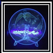 HUGE Verlys Cormorants & Koi Carp 14 inch Directoire Uranium Blue Glass Bowl. AMAZING.