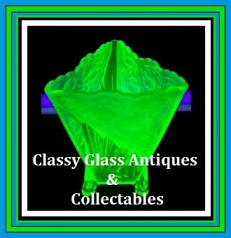 1930s English Art Deco Chrysanthemum pattern Uranium Green Glass Vase by Sowerby.