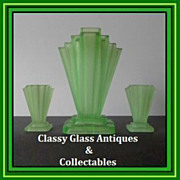 SOLD Scarce & Desirable English Art Deco Uranium Three Glass Vase Garniture Set by Bagley. STU