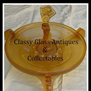 SALE Sensational Czech Republic Art Deco Amber Glass Dancing Lady Center Piece by Inwald