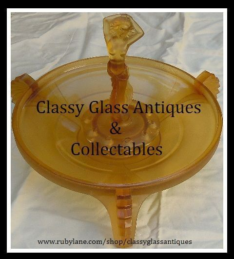 Sensational Czech Republic Art Deco Amber Glass Dancing Lady Center Piece by Inwald