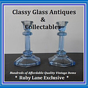 Continental European 1930s Art Deco Blue Depression Glass Candlesticks.