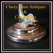 1930s English Art Deco Bagley Glass Dish Comport With Chromium Metal Dolphin Stem & Guilloche