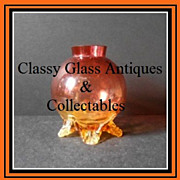 Bohemian Victorian Era Free-Blown Amberina Glass Vase With Amber Glass Appliqu�