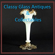 Victorian Style White Opal Glass & Amber Frilled Vase with Metal Mount.