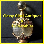 SALE Vintage Perfume Bottle / Flask with Jewels & Metal Filigree Mount