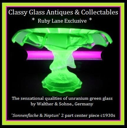 Gorgeous German 1930s Art Deco Uranium Glass Two Piece Comport by Walther & Sohne