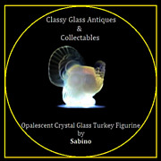 Sabino Opalescent Crystal Glass Turkey Figurine