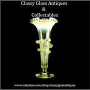 SOLD English Victorian Uranium & Opal Glass Vase With Frilled Glass Applique