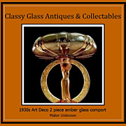 SALE PENDING Gorgeous Art Deco Ring of Roses Amber Depression Era Glass 2 Piece Comport Displa