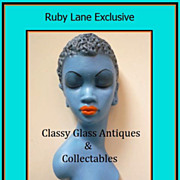SOLD Tretchikoff  Style 1950s Kitsch Blue Lady African Lady Wall Mask Plaque Plaster Productio