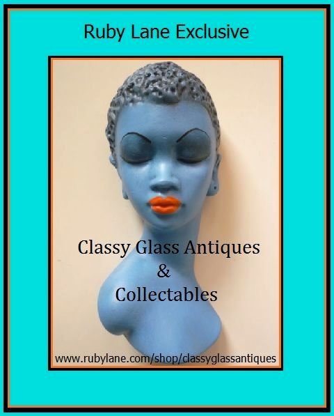 Tretchikoff  Style 1950s Kitsch Blue Lady African Lady Wall Mask Plaque Plaster Production.