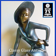 SOLD Futuristic Art Deco Style Lady On The Wall Plaster  Chalk Ware Sculpture Figurine