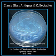 SALE Mermaids 'Les Ondines' Large Opalescent Glass Box & Cover by Sabino Paris c1928 French Ar