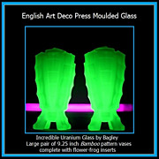 MASSIVE Price Reduction... Incredible PAIR of Large Uranium Green Glass Bamboo Pattern Vases b