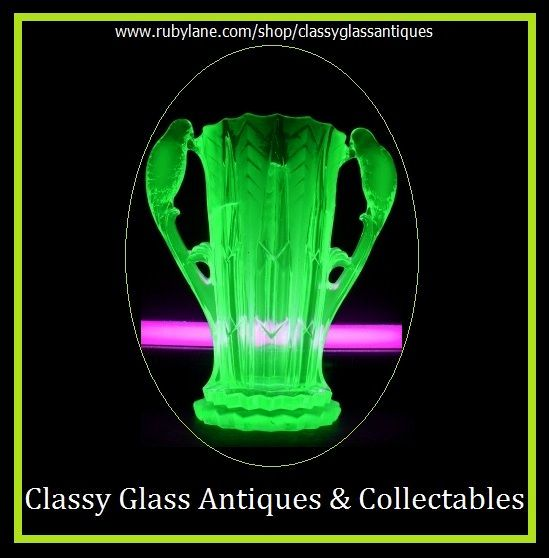 1930s German Art Deco Uranium Glass Vase by Brockwitz.