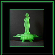 STUNNING 13� Draped Lady & Urn Swag Uranium Glass Console Bowl Set by Cambridge Glass Company