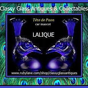 Cobalt Blue Crystal Glass Peacock Head Tete de Paon Car Hood Mascot by Lalique