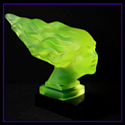 SALE Remarkable Red-Ashay / Hoffman Designed Uranium Green Glass Car Hood Mascot 'Speed Girl' 