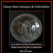 SOLD RARE Pattern Pierre DAvesn 1930s French Art Deco Glass Charger. Signed.