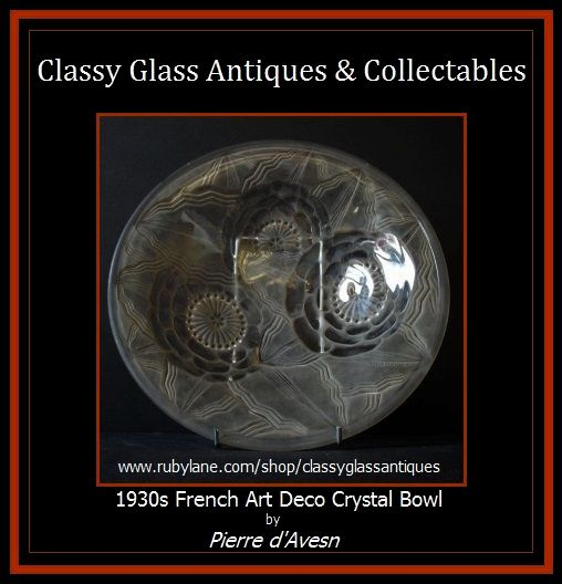 RARE Pattern Pierre D'Avesn 1930s French Art Deco Glass Charger. Signed.