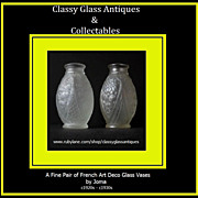 SALE Pair of Fabulous French Art Deco Signed Glass Vases by Joma. Circa 1920s -1930s.
