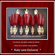 TEN Vintage Venetian Salviati Murano ruby glass 10� Fa�on de venise wine goblets.