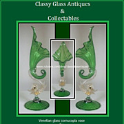 SOLD A Very Fine Early c20th Venetian Glass Cornucopia Vase by Salviati, Murano, Italy.