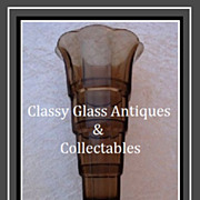 SALE PENDING Smoked Amber Tint Glass 1930s Art Deco 'Skyscraper' Vase by Val Saint Lambert - L