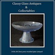 SALE PENDING 1930s French Art Deco press moulded glass comport. Probably by Sevres