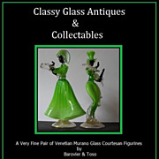 SALE Massive price reduction...  A Fine Pair of Venetian Murano Glass Courtesan Figurines by B